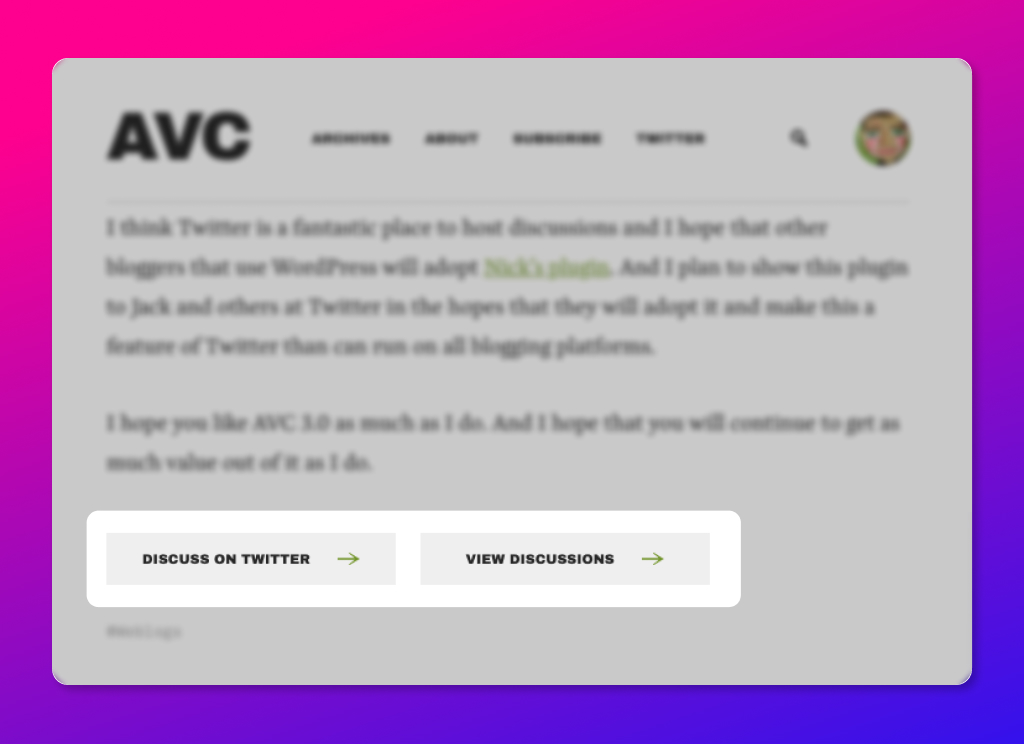 screenshot of the AVC.com blog showing the Discuss on Twitter and View Discussions buttons